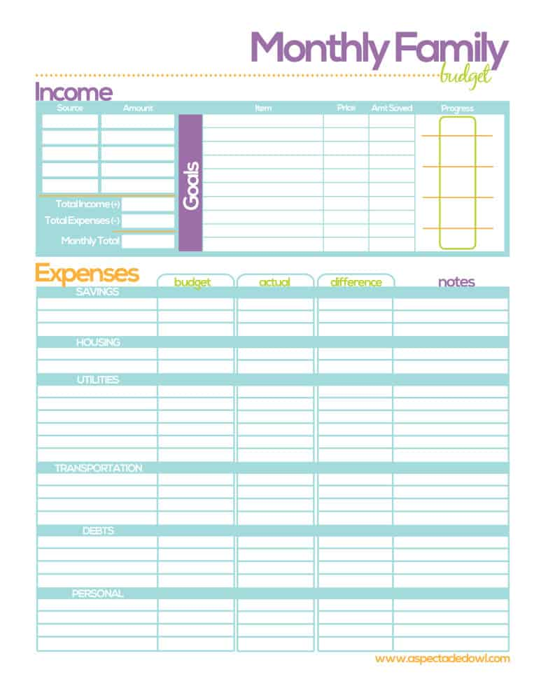 family budget printable