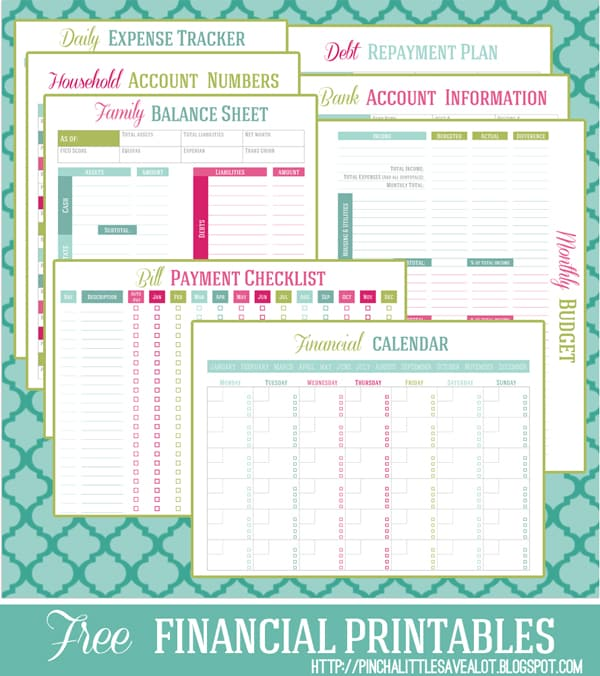 finance manager printables | Pinch a Little Save a Lot
