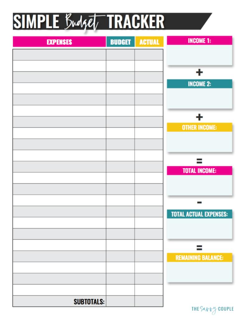 printable budget tracker